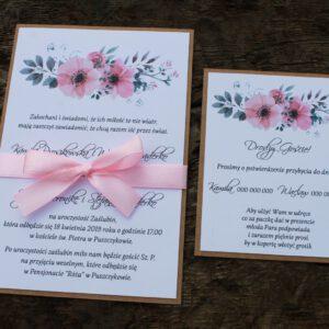Zaproszenie ślubne delikatne anemony