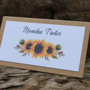Winietki kwiatowe rustyklane słoneczniki