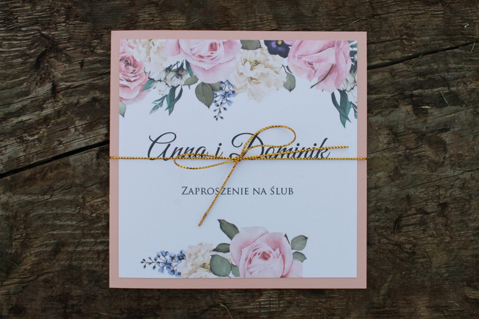 Zaproszenie ślubne kwiaty róże
