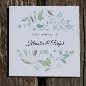 Zaproszenie ślubne motyw liści