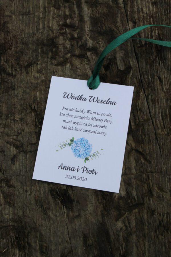 Zawieszka weselna niebieska hortensja