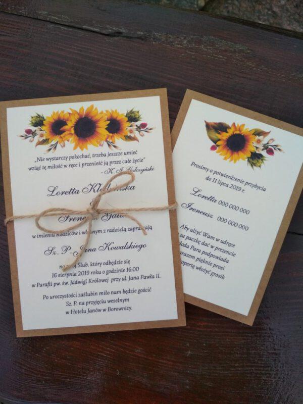 Zaproszenie inspirowane nautrą słoneczniki