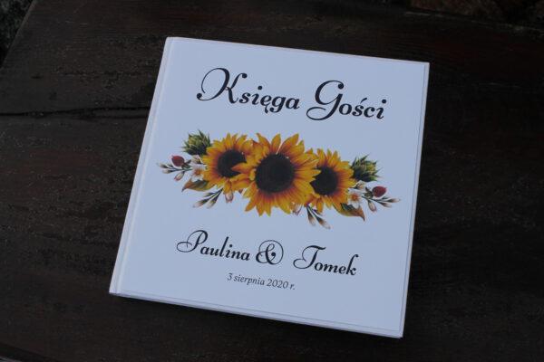 Księga gości z motywem słoneczników rustykalnie